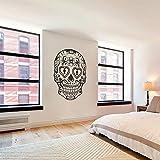 Sugar Skull Dia De Los Muertos vinilo adhesivos arte mexicano Azúcar calavera (negro, Medium) por mairgwall