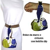 Bolso de mano AZUL Y MARRON, para mujer, Con hebilla clip para colgar en el cinturón. Lavable y más cómodo que riñonera. Handmade prime