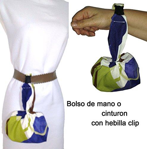 Handtasche, BLAU, BRAUN und WEISS. Auch vom Gürtel zu hängen. Für das Handy, die Schlüssel, Taschentücher, Brieftasche etc. Patentiert. -