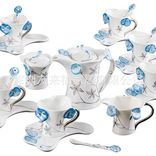 MEICHEN Case cucina ristorante-grado creativo ceramica smalto blu porcellana morning glory, tazza di caffè e piattino set 21