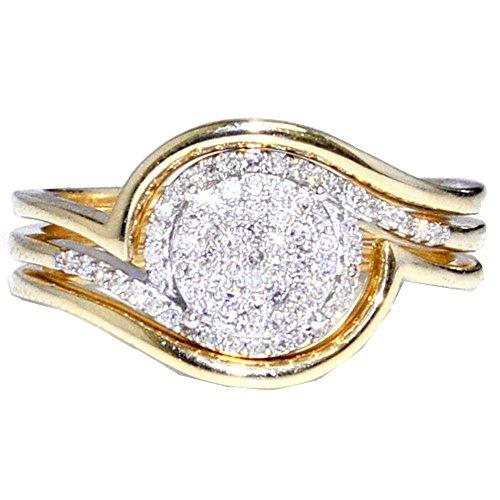 Midwest gioielli da donna Set 1/5cttw diamanti anello di fidanzamento e Fede Nuziale in Oro 10K 2Fedi (i/J colore
