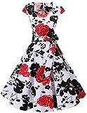 Dresstells Vintage 50er Swing Party kleider Cap Sleeves Rockabilly Retro Hepburn Cocktailkleider White Red Flower M