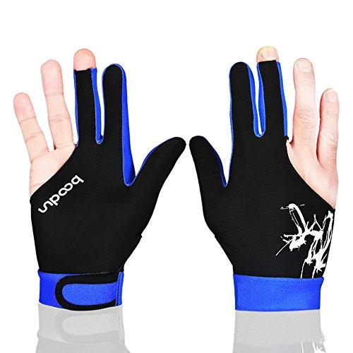 Unisex 3Finger Billard Handschuhe Billard Handschuhe rechts oder links Hand 1PCS Größe L blau (Bowling Handschuh-handgelenk-unterstützung)