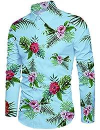 Loveternal Hombre Camisa Manga Larga Slim Fit Imprimir Long Sleeve Shirt M-XXL