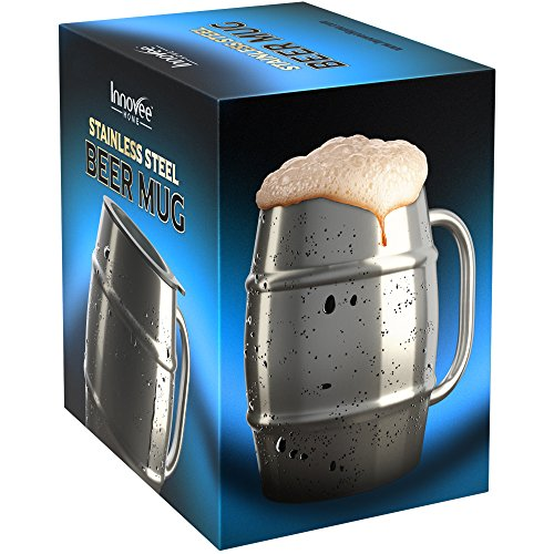 Innovee Beer Mug - Premium Stainless Steel Jar / Coffee Cup with Bonus Lid - 500ml Double Wall with Air Insulation - No Condensa - Can Be Frozen