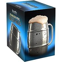 Innovee Beer Mug – Boccale in Acciaio Inox Premium / Tazza da Caffè con Coperchio Bonus – 500ml a Doppia Parete che Isola l