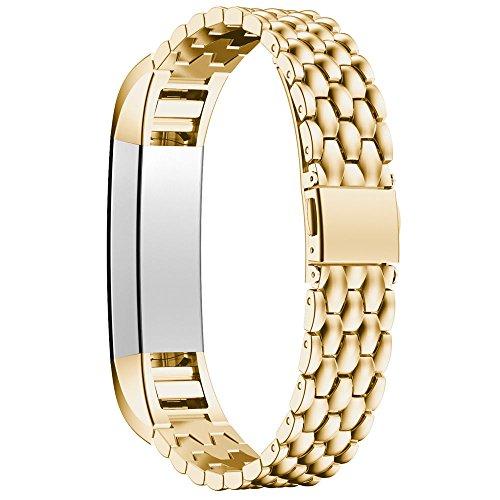 gimartuk Metall Ersatz Armbanduhr Band Edelstahl Uhrenarmband Armband Armreif Bands für Fitbit Alta/HR Tracker, gold