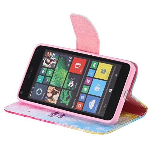 Feeltech Microsoft Lumia N640 Hülle [Berühren Sie Stift] Elegant PU Leder Tasche Magnetverschluss Ultra Schlanke hülle Gemalte Colour Muster Design Mit Back Cover Etui Skin Shell Purse hülle Standfunk Farbe Bubbles