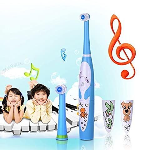 Kids Electric Toothbrush KAMLE Professional with 2 Dental Care Modes 4 Songs and 2 Replaceable Brush Heads (Blue) ¡