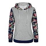 Damen Pullover Btruely Frauen Herbst Blumen Gedruckt Retro Hoodie Sweatshirt Langarm Bluse Causal Tops (Grau, S)