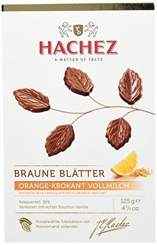 Hachez Braune Blätter Orange-Krokant, 2er Pack (2 x 125 g)