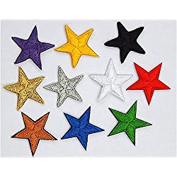 Confezione da 10 ferro mista su o cucire su stelle