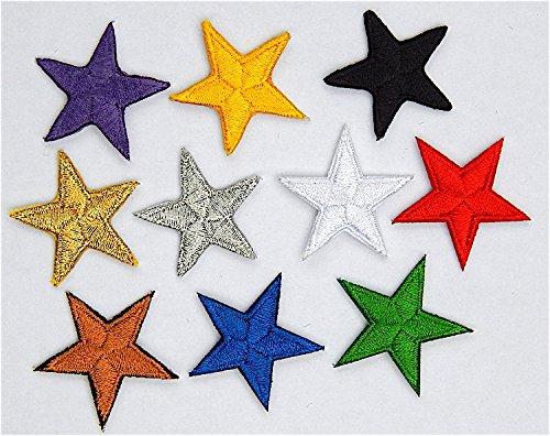 Packung mit 10 Gemischt stickte Eisen auf oder nähen auf Sterne-Patch Rote Eisen-auf Stoff