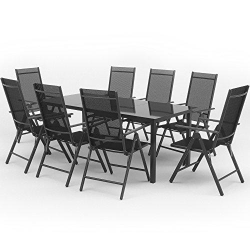 OSKAR Alu Sitzgarnitur Gartenmöbel Anthrazit Set 9-Teilig Garnitur Sitzgruppe 1 Tisch 190x87 + 8 Stühle