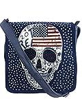 American skull Umhängetasche, verschiedene Farben, Totenkopftasche, 28x29x7cm (blau)
