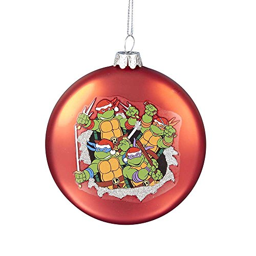 Nickelodeon Kurt Adler Glas Teenage Mutant Ninja Turtles rot Scheibe Ornament, 3,5