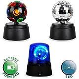 MiniSun – Set de fiesta a pilas – divertida luz multicolor de discoteca – sirena de policía LED azul fluorescente – bola de discoteca plateada
