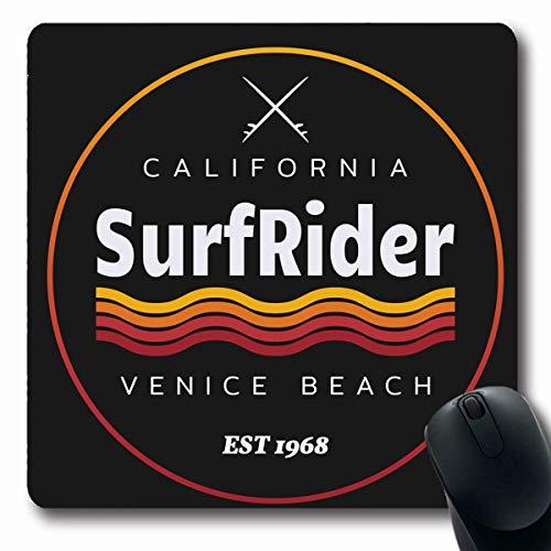 Luancrop Mousepads Kalifornien-Welle auf surfendem Brandungs-Mitfahrer in Sonne-Strand-Stempel-Grafik-Sport-Erholungs-Sommer-Meer-rutschfestem Spiel-Mausunterlage-Gummi-länglicher Matte Venedigs (Sonne Gummi-stempel)