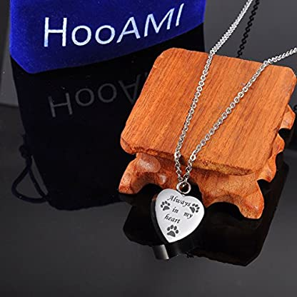 "HooAMI ""Forever in my heart Pet Paw Heart Urn Pendant Necklace- Memorial Ashes Keepsake - Cremation Jewellery (Normal) 6"