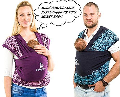 Halten sie ihr Kleinkind ruhig & bleiben sie dabei freihändig - stylisches multifunktionales Babytragetuch - Baumwoll Tragetuch für Neugeborene und Kleinkinder - Tragetasche inklusive - LILA - 4