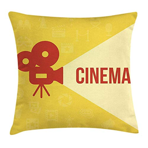 Xukmefat Kino Throw Pillow Kissenbezug, Projektor Silhouette mit Kino-Zitat Film-Symbole BackgroundDark Coral Beige Yellow (Halloween 2 Film Zitate)