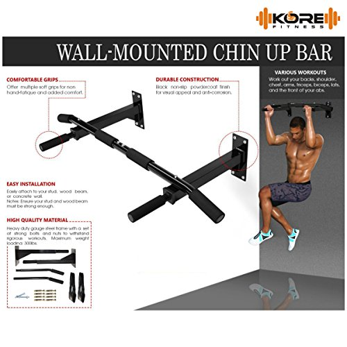 Kore Wall Mounting Chin Up Bar + Ab Straps fitness Combo With Gym Accessories