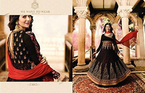 ETHNIC EMPORIUM Damen Schwarz Bollywood Georgette Braut Anarkali Shalwar Kameez Muslim Hochzeit Eid Festliche Rakhi Sammlung Klage-Kleid 2847 43483 Wie gezeigt -