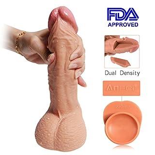 Zwei Layer Silikon Dildo, Realistic Sexspielzeug, Penis Nachbildung Super Sex Toys Absolut Realistisch, Hochwertige Version Erwachsenes Spielzeug (22cm Gesamtlänge/16cm Einfügbare/Ø4.5 cm)
