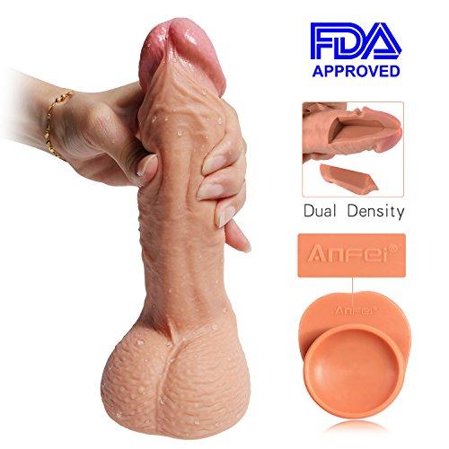 ANFEI Zwei Layer Silikon Dildo, 8.71 Inch Realistic Dildo, Penis nachbildung Realistischer Dildo für Frauen mit Starkem Saugnapf für Anal Anfänger Geeignet, Hochwertige Version
