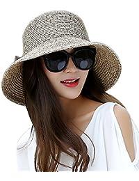 Cappello Donna Estivo di Paglia Spiaggia Cappellino di Sole Tesa Larga  Bowknot Cappelli Pieghevole da Pingenaneer 889e8d7f51a7
