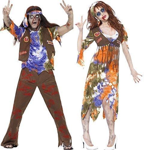 Paar Herren & Damen Zombie Hippie 60er Jahre 1960er Jahre Halloween Kostüm Verkleidung Outfit - Damen 44-46 & Herren M (1960er Jahre Kostüme 60er Jahre Kostüme)