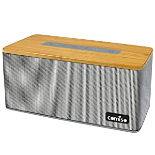 Bluetooth Speaker, COMISO Portable True Wireless Speakers 30W Super Bass Bamboo Wood With DSP Technology (One Piece) - Grey