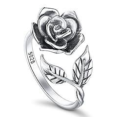 Idea Regalo - DAOCHONG - Anello aperto a forma di rosa, da donna, in argento Sterling S925, anello regolabile, regalo romantico per una donna e Argento, 13,5, colore: Oxidized N 1/2, cod. G6APE1806005A3