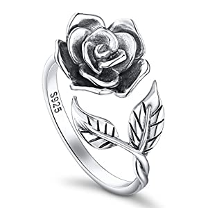 DAOCHONG Ringe für Damen S925 Sterling Silber Rose Blume Verstellbaren Ringen Romantisches Geschenk für Sie
