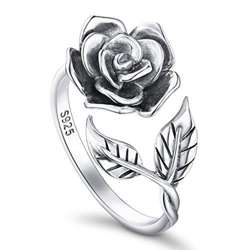 DAOCHONG Ringe für Damen S925 Sterling Silber Rose Blume Verstellbaren Ringen Romantisches Geschenk für Sie,Oxidized Ring Size 8
