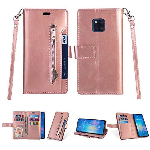 Artfeel Hülle für Huawei Mate 20 Pro Flip Brieftasche Hülle Roségold mit 9 Kartenfächer,Premium Leder Magnetisch Stand Handyhülle mit Reißverschluss Tasche und Handschlaufe Schutzhülle (Brieftasche Handtasche Fall)