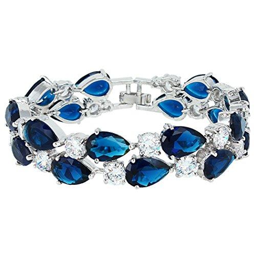 EVER FAITH Damen Zirkonia Fashion Charm 2 Schichten Teardrop Tennis Armband Blau Silber-Ton