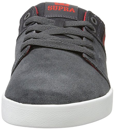 Supra Herren Stacks Ii Low-Top Grau (DARK GREY / RED - WHITE 031)
