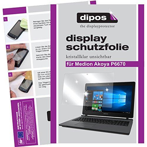 dipos I 2X Schutzfolie klar passend für Medion Akoya P6670 Folie Bildschirmschutzfolie