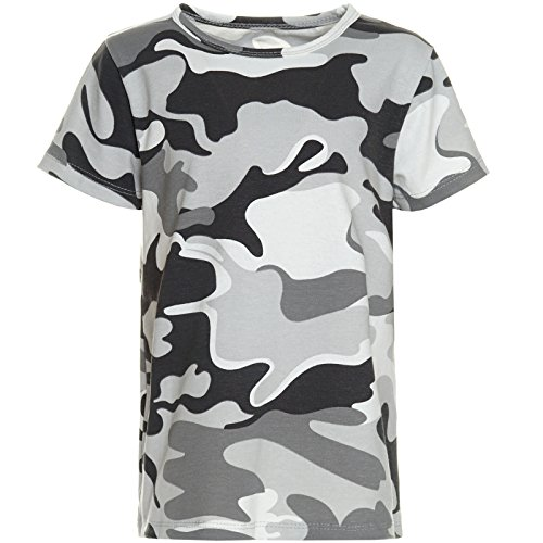 Jungen Kinder Camouflage T-Shirt Sommer Bluse Kurzarm Shirts Short Sleeve 21271, Farbe:Grau;Größe:128