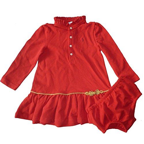 ralph-lauren-baby-madchen-polo-langarm-kleid-mit-ruschen-kragen-unterhose-rot-80