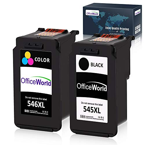 OfficeWorld Ersatz für Canon PG-545 CL-546 Druckerpatronen PG-545XL CL-546XL Kompatibel für Canon PIXMA MX495 MG2555 iP2850 MG2950 MG2550 MG2900 MG2500 MG2450 MG2455 iP2800 (1 Schwarz, 1 Farbe)
