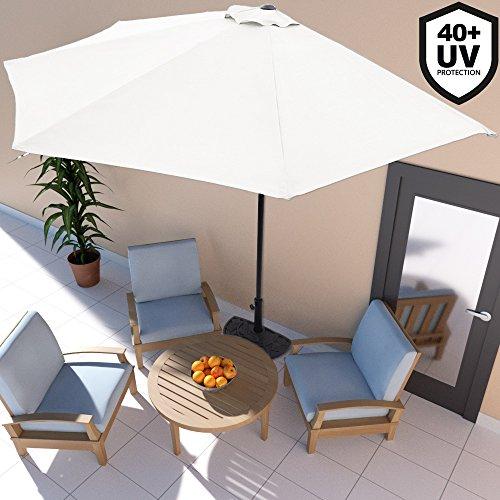 Deuba Sonnenschirm Ø 2,7m mit Kurbel halbrund UV-Schutz 40+ wasserabweisend I Creme- Terrassen Sonnenschirm Balkonsonnenschirm Terrassenschirm