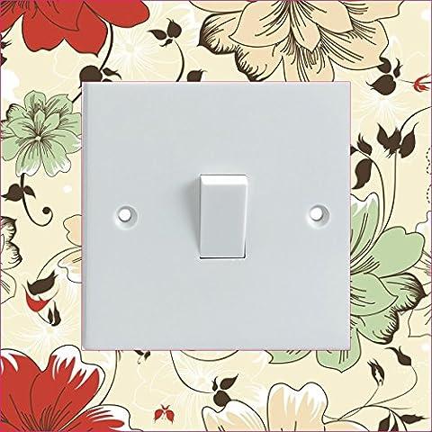 Cream Red Green Flowers Electrical Light Switch Surround Printed Vinyl Sticker
