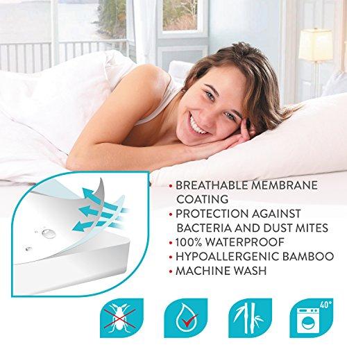 Tatkraft betty coprimaterasso impermeabile per letto singolo - traspirante, ipoallergenico, antiacaro, antibatterico, morbida spugna di bambù ecologica 190 x 90 x 25 cm