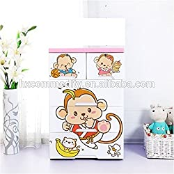 TheTickleToe Thickened Plastic Kung Fu Monkey Cartoon Chest of Drawers Closet Wardrobe Cupboard Organizer Kids Boy Girl Room Baby Nursery Decor DIY 4 Layers Drawers with 2 Locks Pink
