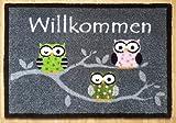 Trendstern® Trendprodukteshop Fußmatte Fußabtreter Schmutzmatte Motiv Design Eule OWL (grau-3 Eulen)