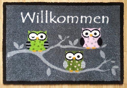 Fußmatte Fußabtreter Schmutzmatte Motiv Design Eule OWL (grau-3 Eulen)