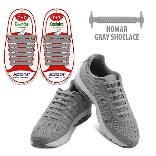 HOMAR Kinder Shoelaces Kein Tie Schnürsenkel - Elastische Wasserdichte schmutzfester For Life Hacker, Kinder, Ältere, Behinderte, Sportler - Grau