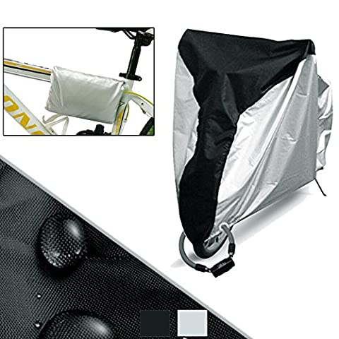 Ailier Bike Cover Heavy Duty 190T Nylon Waterproof Bicycle Cover Anti Dust Rain UV Protection For Mountain Road Bike Stored Outdoors or Indoors with Lock-holes (Die schwarze Seite Silber, 190*65*98 cm)